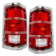 Pair Tail Lights for 81-93 Dodge Ram Truck Ramcharger Chrome Trim w/ Housing Set