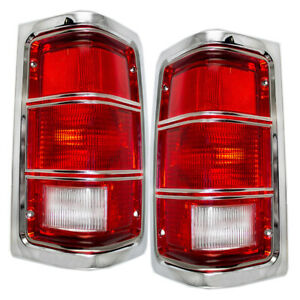 Pair Set Taillights Taillamp Chrome Housing for 81-93 Dodge Ram Truck Ramcharger