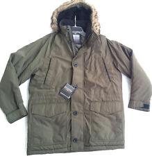 Weatherproof Ultra Oxford Hooded Parka Olive Faux Fur Coat Jacket Men's S new