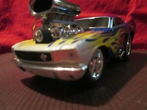 1966 66 ford mustang fastback big blower 1/18 muscle machine blue w/ flames