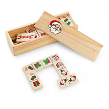 Wooden Christmas Novelty Dominoes Game Stocking Filler Xmas Santa Reindeer