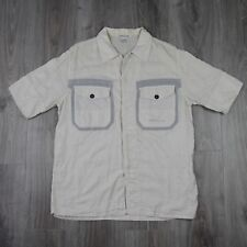 Vintage Mens Stone Island Summer Shirt Cotton L Spell Out Short Sleeve Cream