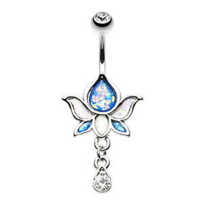Rose Gold Opal Lotus Flower Drop Belly Ring Dangle Silver Clear Blue White Sexy
