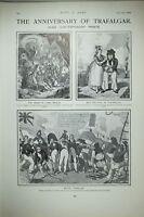 1903 Estampado Aniversario De Trafalgar Muerte De Lord Nelson