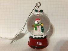 Ganz Glass Snowman Snowglobe Ornament KIM Stocking Stuffer Office Gift NEW!