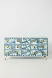 Bone Inlay Optical Inlay Chest Of 9 Drawers In Sky Blue With Insurance Home Deco