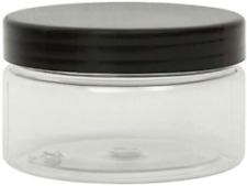 Lucemill 10 X 100ml Clear Plastic Pet Cosmetic Squat Jars With Black Screw Lids