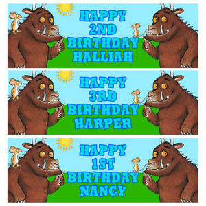 GRUFFALO Personalised Birthday Banner - Gruffalo Birthday Party Banner - 1x3Ft