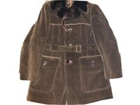 Cortefiel ~ Vtg Men's Brown Corduroy Coat 1970's Lined Belted Made In Spain ~ 38