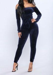Fashion Nova Women New Need A Hug Velour Jumpsuit in Navy Size Medium