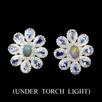 Oval Rainbow Full Flash Fire Opal Tanzanite Unheated W Cz 925 Silver Earrings