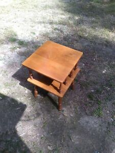 """Vintage Mid Century End Table MCM Solid Maple Wood 22"""" Square Two Tier 25"""""""