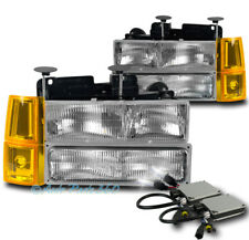 94-98 GMC C/K 1500 SUBURBAN SIERRA HEADLIGHTS LAMP W/BUMPER+CORNER+8K HID CHROME