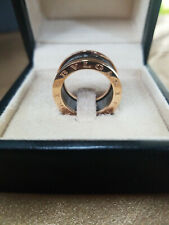 Bvlgari Designer B.Zero1 Roma 18k Rose Gold Ceramic Band Ring 8# Complete