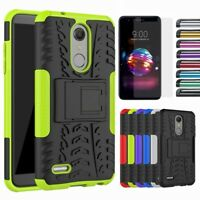 Hybrid Hard Armor Case Shockproof Rugged Stand Cover For LG K10 Plus/Premier Pro