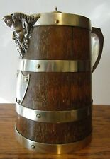 More details for  antique coopered silver plated green man water ale wine jug
