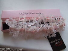 AGENT PROVOCATEUR CUTE WHITE & PINK CELIA GARTER IN GIFT BOX BNWT
