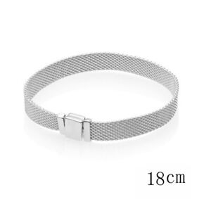 REFLEXIONS SILVER CLASP MESH CHAIN SILVER STERLING BRACELET CLIP CHARMS BEAD