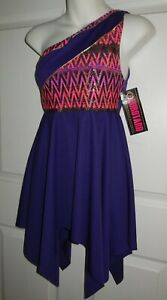 Purple Praise Worship Tunic One Shoulder Eurotard Dance Large X-Large Child NWT