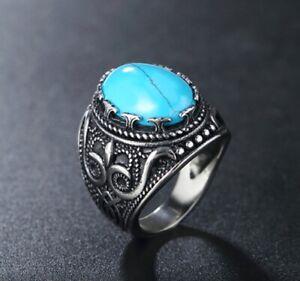 Men Women Vintage Blue Turquoise Stone Silver Titanium Stainless Steel Ring 8-12