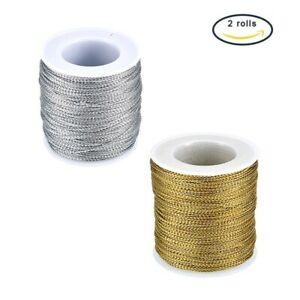 50m/Roll 2mm Thick Jewelry Braided Thread Metallic Cords Mixed Color for Crafts