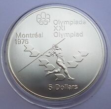 Canada 5 Dollars 1975 Silver coin UNC Women's javelin Montreal Olympics 1976