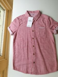BNWT MARKS &SPENCER UK BOYS SIZE 9 - 10 BUTTON DOWN SHIRT SALMON RED & CREAM