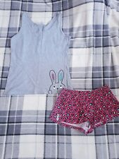 Super Cute Bunny Cotton Summer Pj Set- Vest & Shorts Size Small