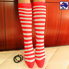 Red And White Child Girl Stripe Striped Socks High Leg Thigh Party CSOCK0591