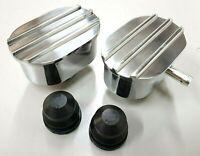 JSD 6119 6120 Finned Oval Polished Aluminum Valve Cover Breather /& PCV Valve Combo Nostalgia