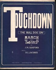 Touchdown The Bull Dog Cry (Yale) 1913 Large Format Sheet Music