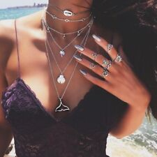 Bohemian Multilayer Mermaid Tail Necklace Pendant Beach Starfish Shell Jewelry
