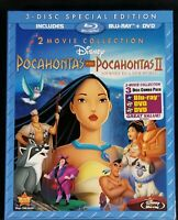 Pocahontas Movie Collection Bluray DVD Combo Pack 1 2 Paper Sleeve NEW Disney