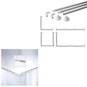 Corner Shower Curtain U&L Shape 4 Way Rod Pole Bath Rail Bathroom Shower NEW