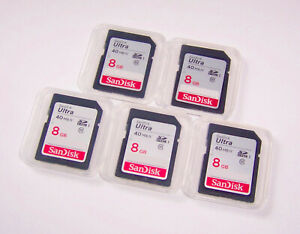 Lot of 5 New SanDisk Ultra 8gb SD Memory Cards 40mb/s - 8 gb SanDisk SD Cards