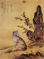 PAINTING ANIMAL CASTIGLIONE PRIZED DOGS BANJINBIAO GREYHOUND ART PRINT LAH370A