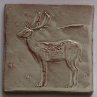 deer tile, low relief tile, handmade tile, side deer, Helen Baron