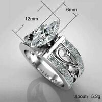 Elegante Frauen Ehering Marquise Cut White Sapphire Alloy Ring Geschenk 201 I7N4