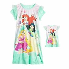 Disney Princesses Mulan, Ariel and Rapunzel Nightgown with Doll Gown