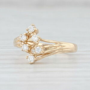 Diamond Cluster Ring 14k Yellow Gold Size 4.5 Bypass Round Brilliant
