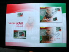 2007 Italy GIUSEPPE GARIBALDI official folder card gold stamp cover FDC