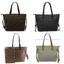 Women Ladies Designer Checkered Tote Bag Leather Style Quality Shoulder Handbag