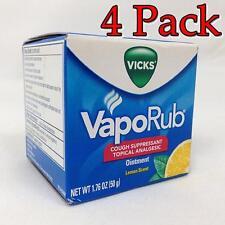 Vicks Vaporub Cough Suppressant, Lemon, 1.76oz, 4 Pack 323900010512T355