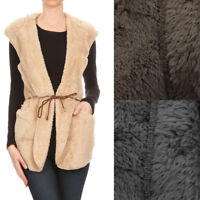 Love Tree Women's Taupe Olive Mocha Super Soft Faux Fur Hooded Vest Jacket S M L