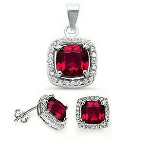 Ruby & White Sapphire Princess Halo Pendant and Earrings - Solid Sterling Silver