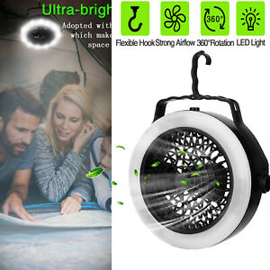 2 IN 1 Outdoor Portable Tent LED Light Lamp With Fan Camping Hiking Equipment US