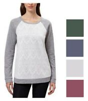 Adrienne Vittadini Women's Lace Bodice Pullover Long Sleeve Tee Shirt