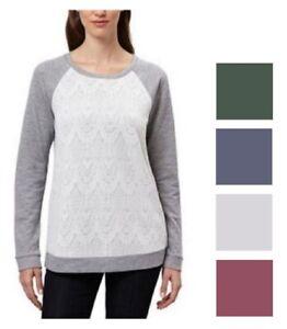 Adrienne Vittadini Women's Lace Bodice Pullover Long Sleeve Tee Shirt