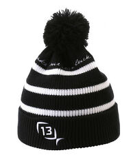 13 Fishing The Tuque Hat Black with White Stripes - One Size Fits All - TUQ