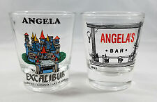 Lot Angela Name Shot Glasses Excalibur Hotel Casino Las Vegas Libbey Bar Barware